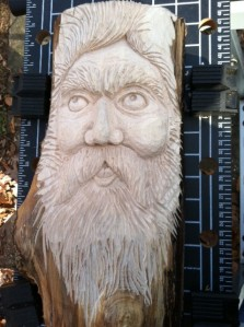 wood carving of a large wood spirit