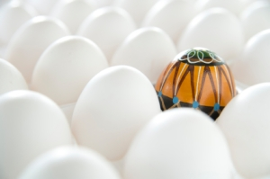 very colorful egg in sea of plain white eggs