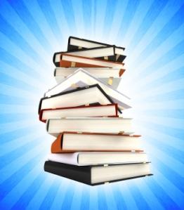 books on blue sunburst background