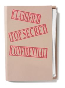 classified and top secret brown folder of business documents