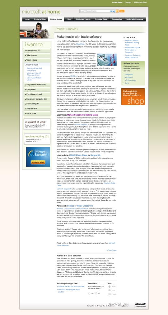microsoft webpage nice example