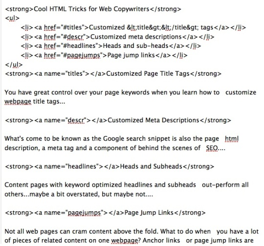 html detail for on-page wordpress jump-links