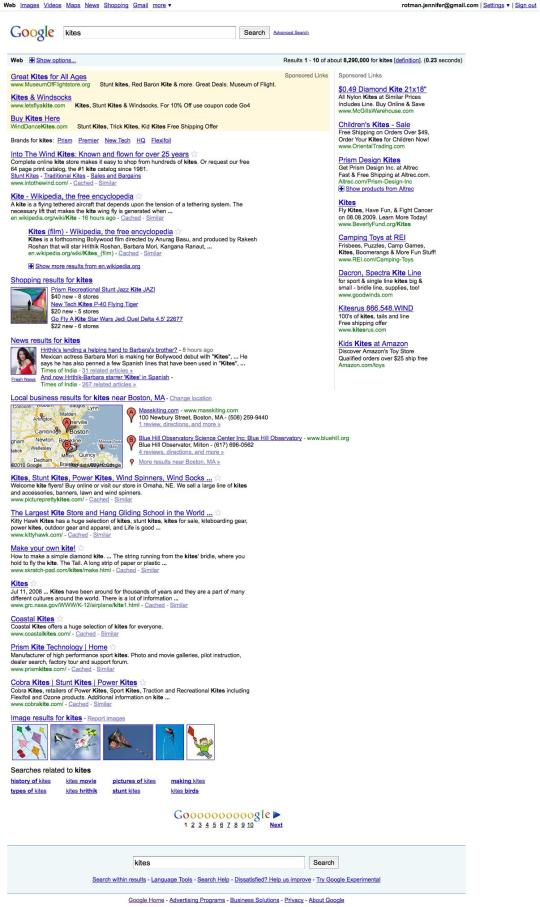 "a sample Google search for ""kites"" showing addition of brand names as well as other types of content"