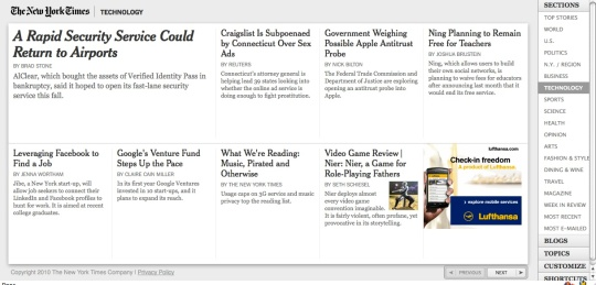 screenshot of the New York Times Skimmer feature