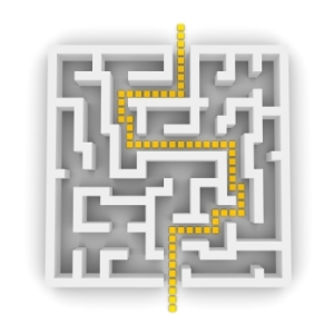 highlighted yellow pathway through a maze - view from above