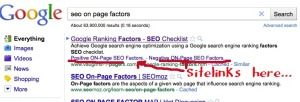 Google shows sitelinks in search results