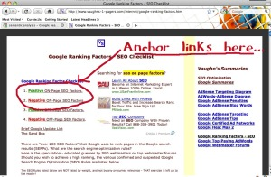webpage with anchorlinks