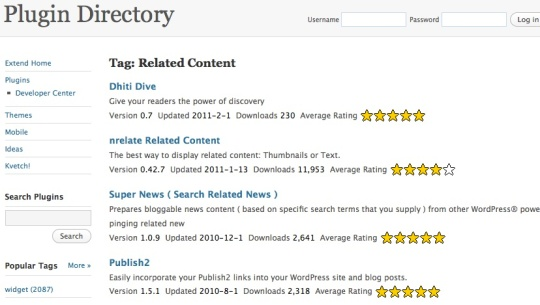 sample wordpress plugins for related content