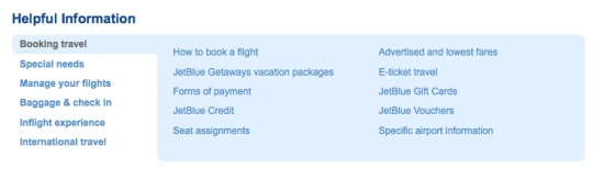 example of helpful information label - jetblue.com