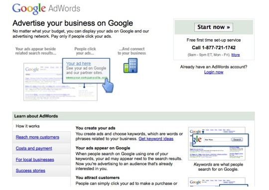 a google landing page that's mismatched to its ad impression