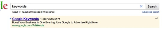 Ad impression for Google's keyword tool?