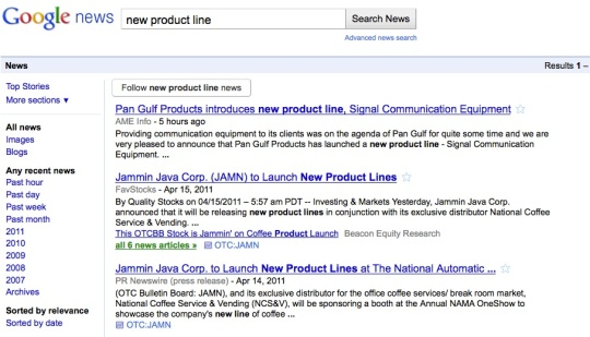 image of Google News results page