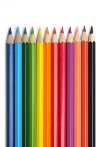 a set of brightly colored pencils