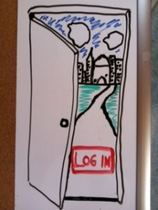 "Lo-fi intranet concept on whiteboard: open door with city behind it and big red ""Log In"" button"