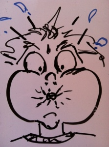 Whiteboard sketch of a person with stuffed cheeks like they are about to explode