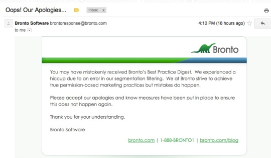 Bronto software email explaining an error in sending,  or really smart marketing?